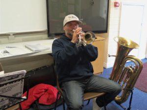 Playing cornet