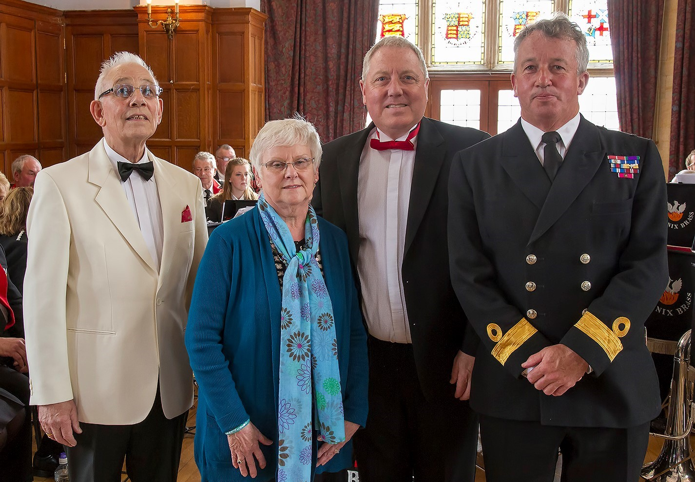Vice Presidents Christine Peacock and Commodore Jamie Miller RN, OBE with David Watson and Mike Kilroy